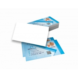 Cartão de Visita Couchê 300g UV FR 9x5 4x0 cor(es) - Qtd 3000 un. - Qtd. Mínima: 1 Produção: 5 dias úteis
