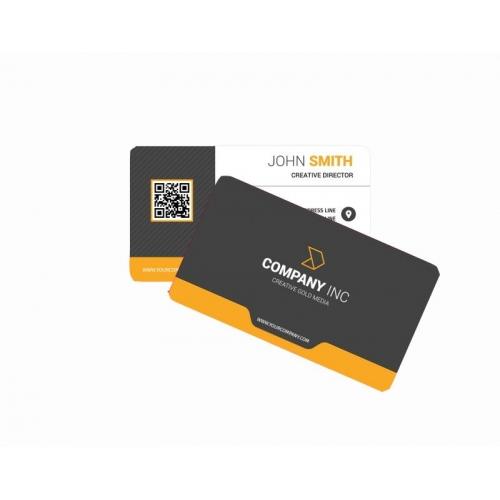 Cartão de Visita PVC 0,5 Verniz Cristal FR e VR Fosco 8,5x5,4 4x4 cor(es) - Qtd 50 un. - Qtd. Mínima: 1 Produção: 8 dias úteis