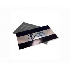 Cartão de Visita Supremo Metalizado Uv Total Frente 9x5 4x1 cor(es) - Qtd 50000 un. - Qtd. Mínima: 1 Produção: 7 dias úteis