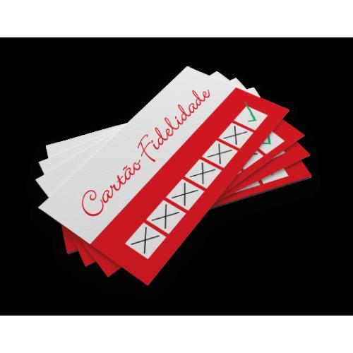 Cartão Fidelidade / Convites / Carteirinha PVC 0,5 Verniz Cristal FR e VR 8,5x5,4 Arte Única 4x0 cor(es) - Qtd 50 un. - Qtd. Mínima: 1 Produção: 8 dias úteis