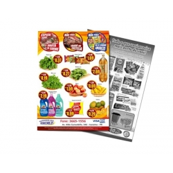 Encartes Supermercado/Loja Sulfite 75g Sem Verniz 30x42 4x1 cor(es) - Qtd 10000 un. - Qtd. Mínima: 1 Produção: 7 dias úteis