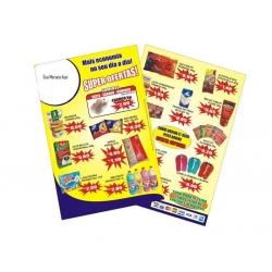 Encartes Supermercado/Loja Couchê 90g UV FR VR 31x44 4x4 cor(es) - Qtd 20000 un. - Qtd. Mínima: 1 Produção: 7 dias úteis